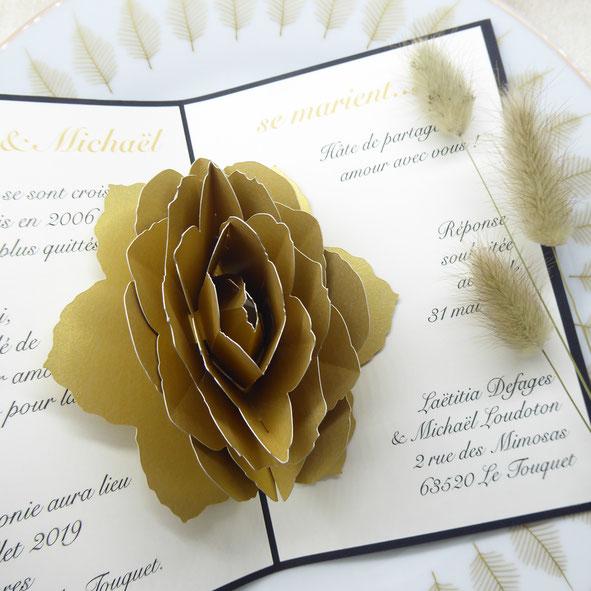 Faire-part pop-up Mariage rose doré personnalisable