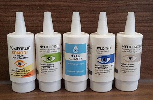 Hylo Augentropfen (Hylo Fresh, Hylo Comod, Hylo Gel, Hylo Protect, Posiforlid Comod)