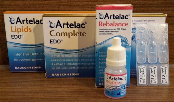 Ein Teil der Artelac Familie (Artelac Lipids, Artelac  Complete, Artelac Rebalance)