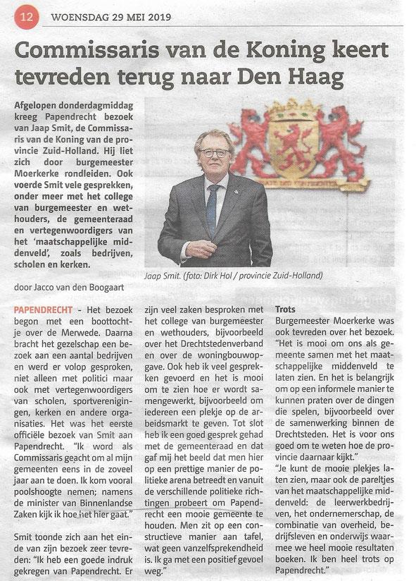 Artikel in het Papendrechts Nieuwsblad 29 mei 2019