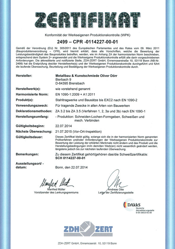 Zertifikat EN 1090-1-2009 + A1: 2011