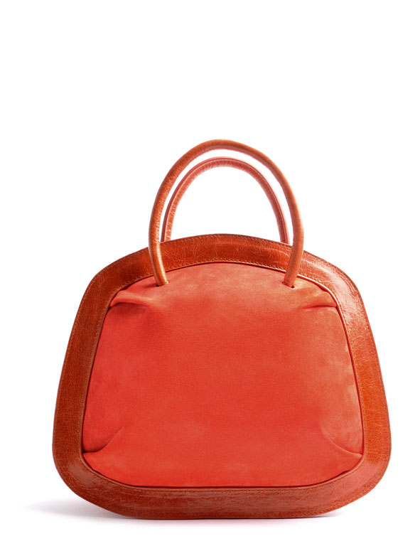 OSTWALD Bags . Finest Couture . Handcrafted Leatherbag . Organic Tote SMALL . Bubble . colour cognac red