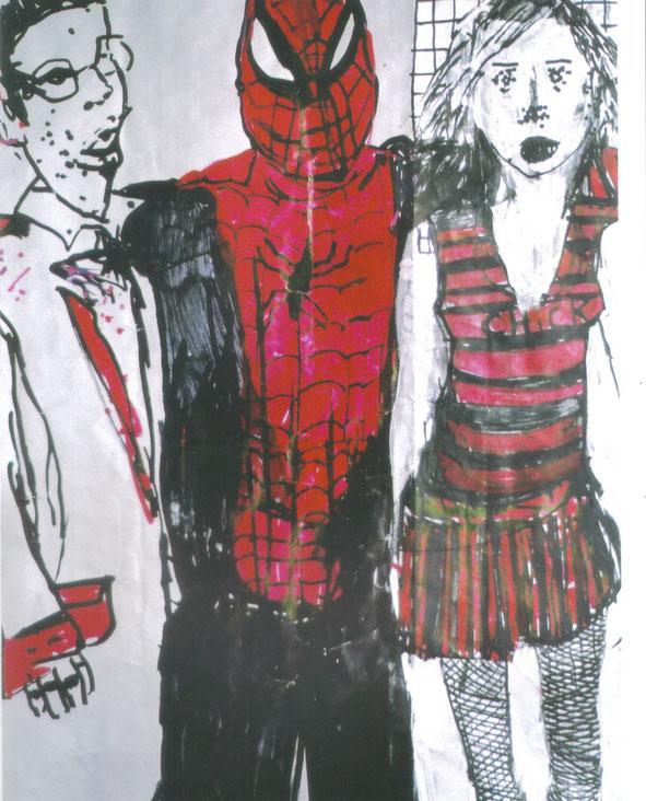Chick / 2002 / Acrylique, markers et craies sur papier / 50x50 cm / collection particulière