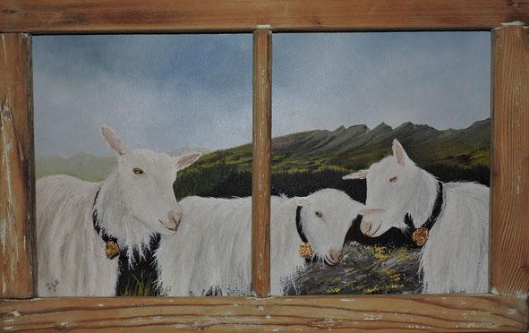"""""""Ziegen auf dem Guggeien"""" Öl auf Holz, in Privatbesitz"""