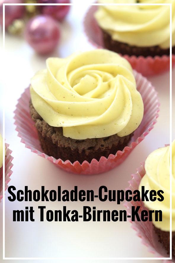 Schokoladen-Cupcakes mit Tonka-Birnen-Kern #buchontour #buchontourvontörtchentörtchen #tötö