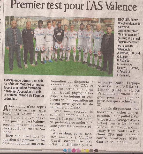 L'avant-match vu par Valence