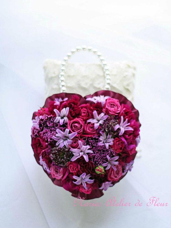 生花 ヒヤシンスのバッグ型ブーケ