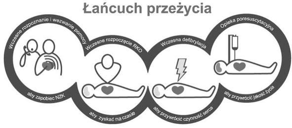 Łańcuch przeżycia: wczesne rozpoznanie ryzyka NZK, wczesna i nieprzerwana RKO, wczesna defibrylacja, opieka poresuscytacyjna. Rehabilitacja Warszawa Bielany Żoliborz poleca.
