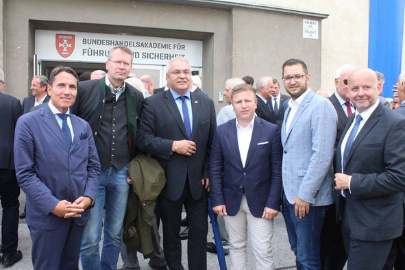 NAbg. Reinhard Eugen Bösch, Dr. Wolfgang Baumann, LAbg. Manfred Haidinger, LAbg. Jürgen Handler, StR Philipp Gerstenmayer und MinR. Dietmar Seiser