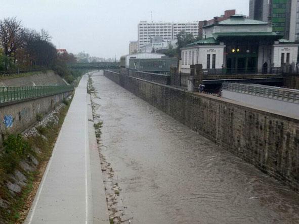 Wienfluss in Ober St. Veit am 20.9. (Hochwasser <HQ1)