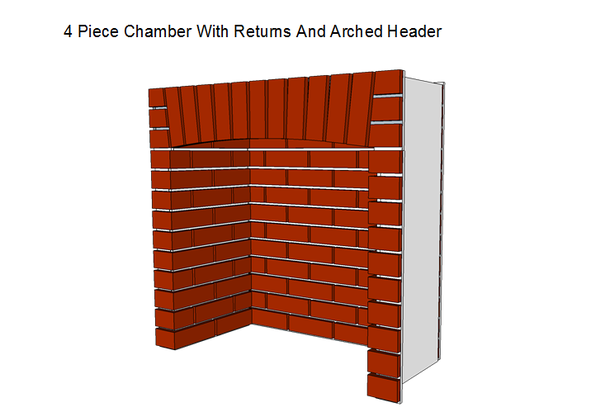 4 Piece Fireplace Chamber with Returns and Arched Header