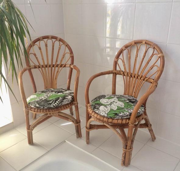 fauteuil vintage, fauteuil rotin, fauteuil pour enfant, paire de fauteuils en rotin