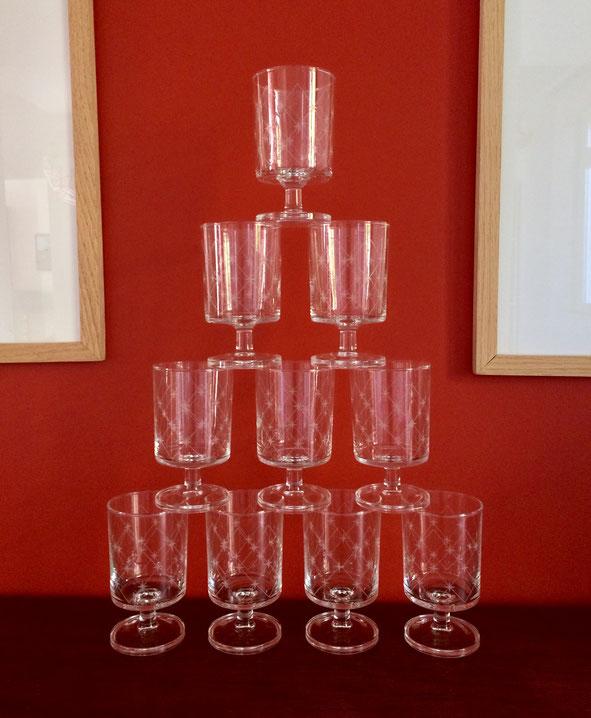verre 70'S, verres vintage, verre à pied