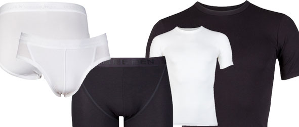 Collectie van Beeren Bodywear: Beeren Young. Boxer, slip en t-shirt korte mouw. Zwart en wit