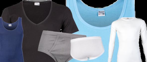 Collectie van Beeren Bodywear producten: M3000 slip, onderhemd, t-shirt met korte mouw en t-shirt met lange mouw. Zwart, wit, staalgrijs, lichtblauw en marine