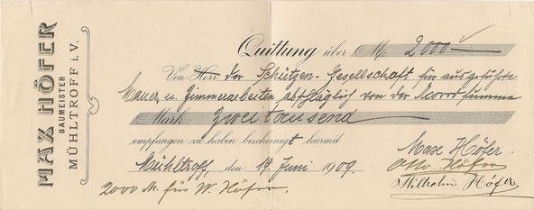 Quittung über 2000 Mark für Arbeiten beim Bau des neuen Schützenhauses 1909