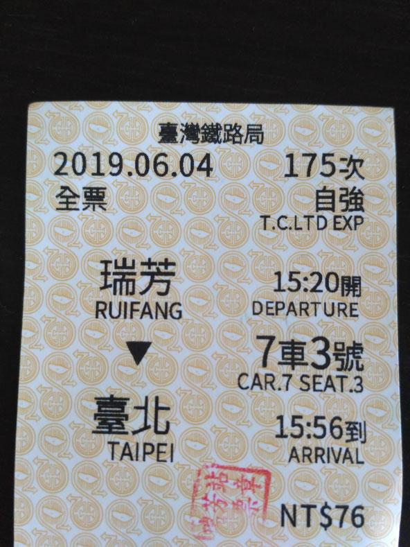 懐かしさを感じる台湾の電車切符 台北から瑞芳までいければなんとかなります All rights reserved by onegai kaeru