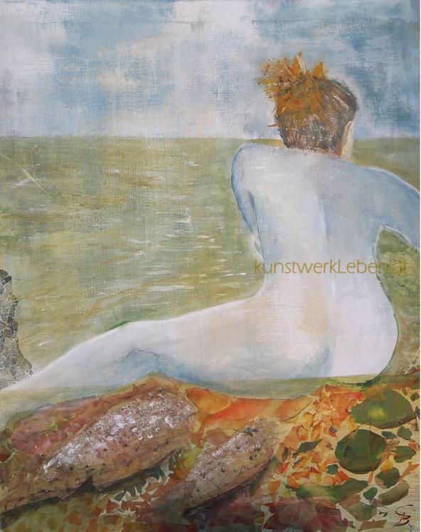 KORSIKA, Acryl auf Leinwand, Seidencollage, 90cm breit x 60cm