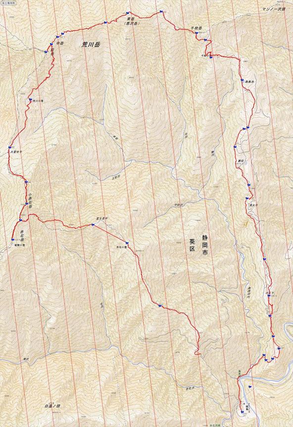 荒川三山ルート図