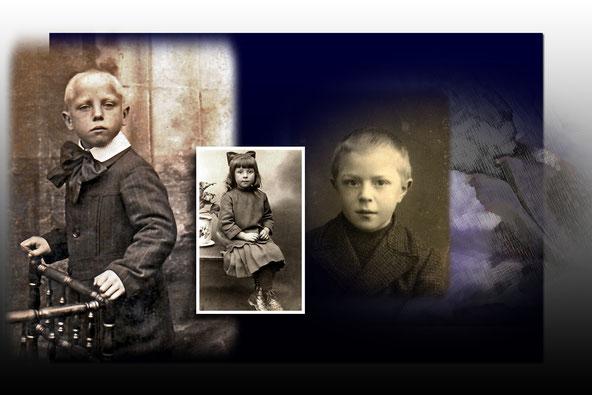 Alfons Beets, zus Margriet  en broer Louis. Hulsterstraat.