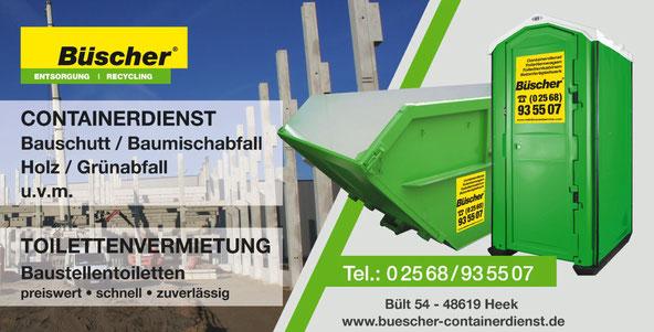 Containerdienst Büscher in Heek-Ahaus-Legden-Schöppingen-Gronau-Ochtrup u.v.m.