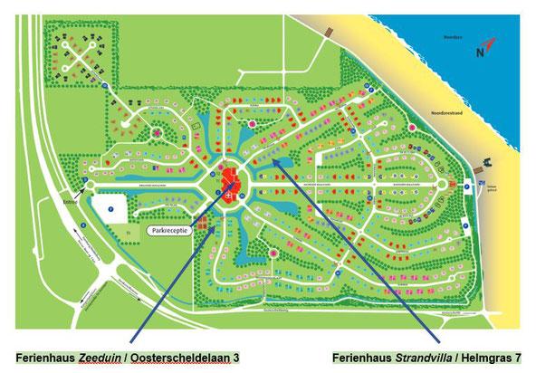 Lageplan Ferienpark De Banjaard direkt am Strand