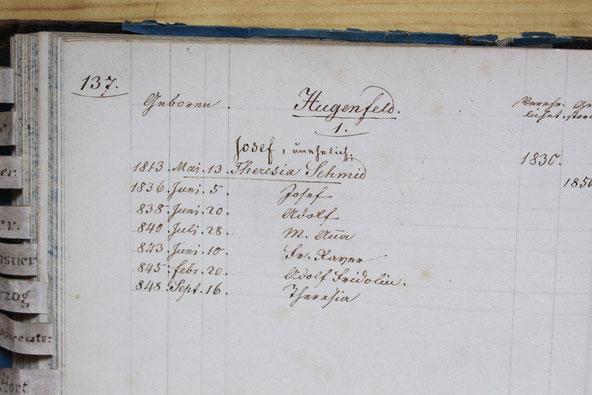 Original-Familienbuch von 1846: Seite 137