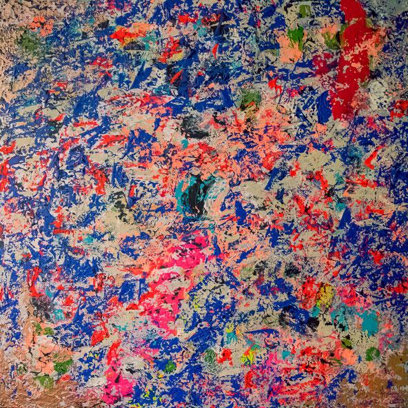 "Titel: ""BLUE ACID"" (2017),  70 cm x 70 cm,"