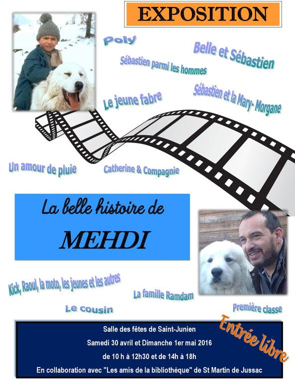 Exposition La Belle histoire de Mehdi Mehdi el Glaoui (fils de Cécile Aubry) Belle et Sébastien
