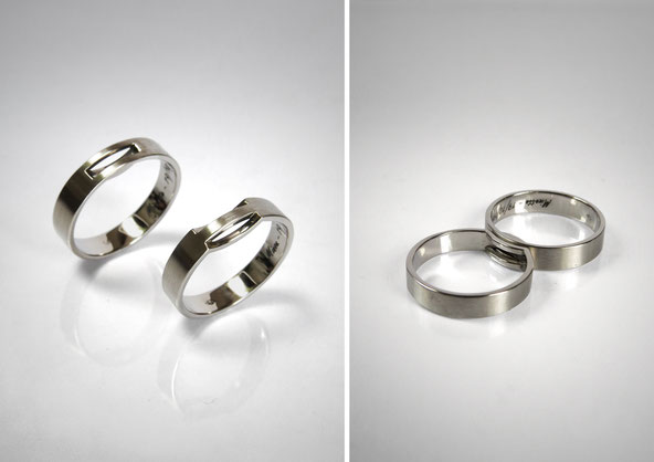wedding rings positive and negative, puzzle, recessed, white gold - Nelly Chemin