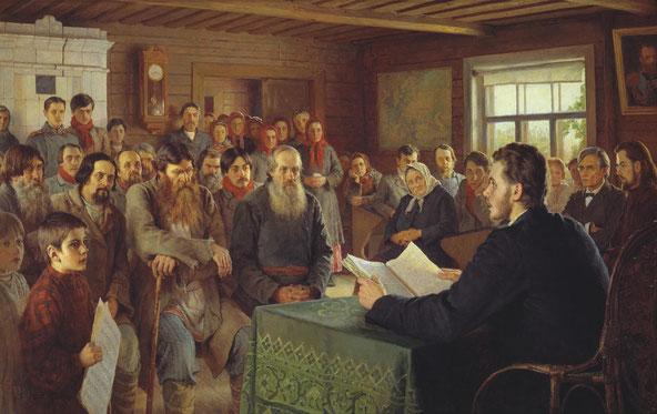 """Bogdanov-Belsky, """"Lettura domenicale in una scuola del villaggio"""" (1895)"""