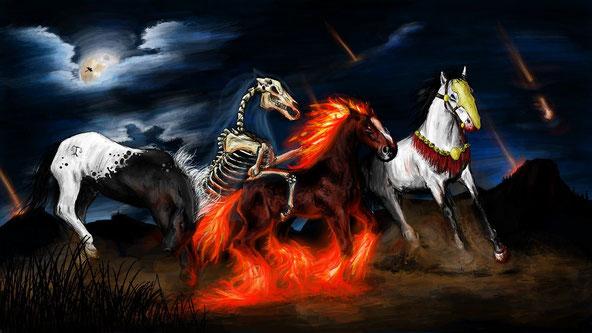 Le second cavalier de l'Apocalypse de couleur rouge-feu est directement lié aux deux derniers cavaliers: le cheval noir et le cheval blême ou verdâtre. Les guerres entraînent famines et maladies, comme la grippe espagnole après la 1ère guerre mondiale.