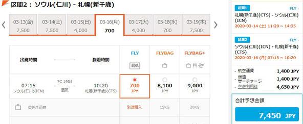 チェジュ航空7450円