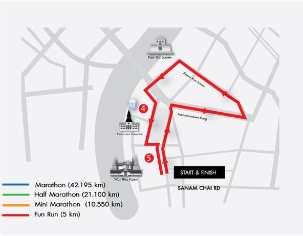 バンコクマラソンファンランコースマップ