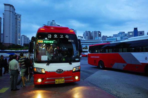 釜山発ソウル行きのバス