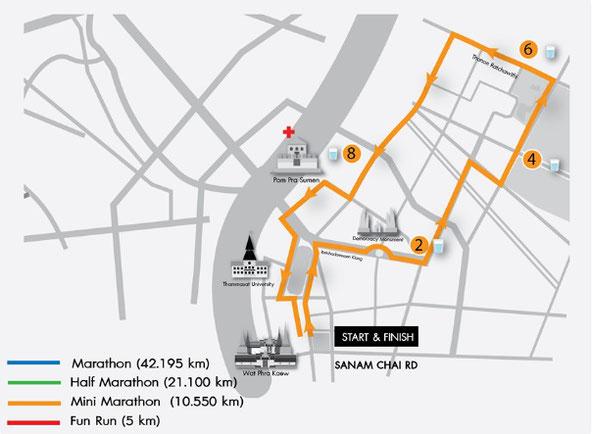 バンコクマラソンミニマラソンコースマップ