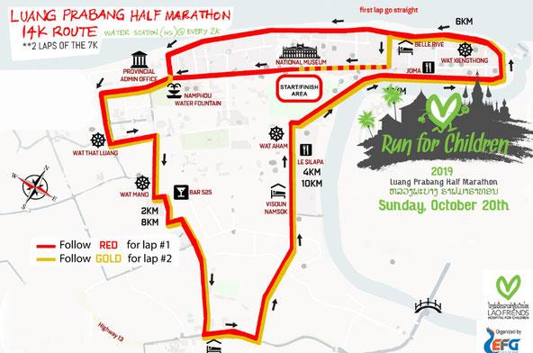 2019ルアンパバーンハーフマラソン14km