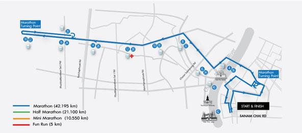 バンコクマラソンフルマラソンコースマップ