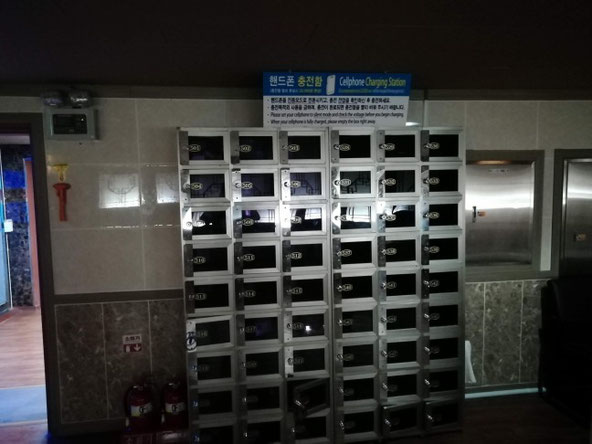 シロアムサウナの充電ロッカー