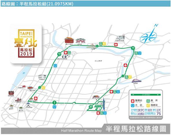 2019台北マラソンハーフマラソンコース