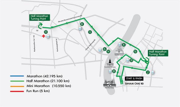 バンコクマラソンハーフマラソンコースマップ
