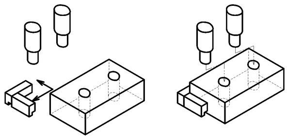 丸穴が2か所あいた金属プレートを位置決めして段付きピンを自動で挿入する機械