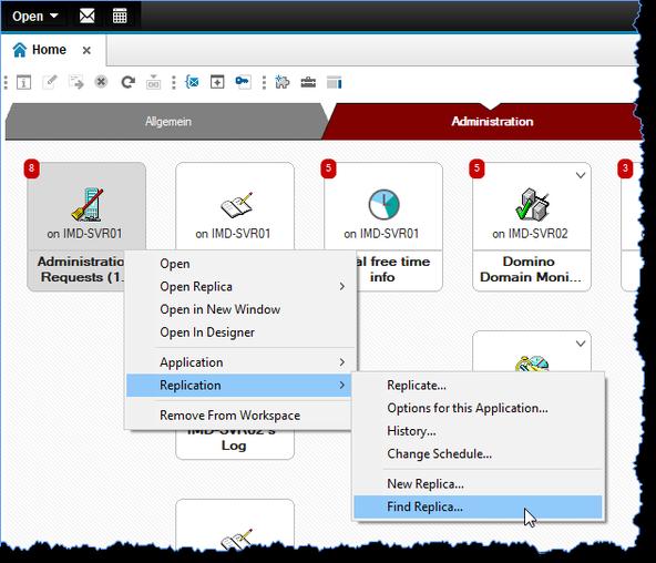 Zu einer bereits im Arbeitsbereich geöffneten Datenbank eine Replik auf einem anderen Domino Server finden