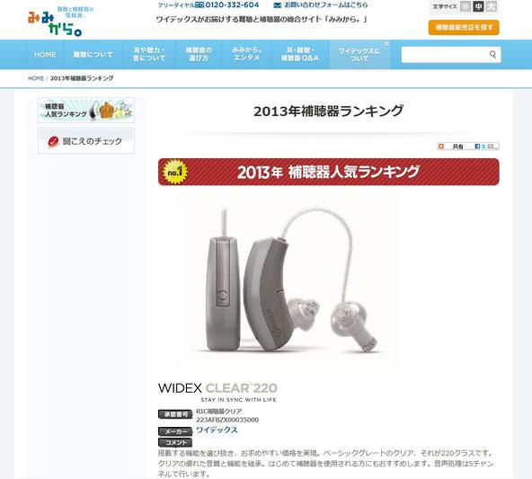 2013年補聴器人気ランキング