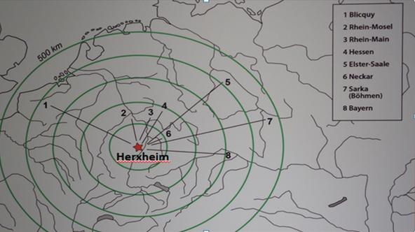 Wahrscheinliche Herkunftsgebiete von in Herxheim gefundener verzierter Keramik (bandkeramische Regionalstile)