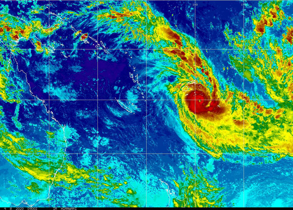 Colourised satellite image showing Severe Tropical Cyclone Harold passing over Fiji, 08/04/2020. Image from NOAA.