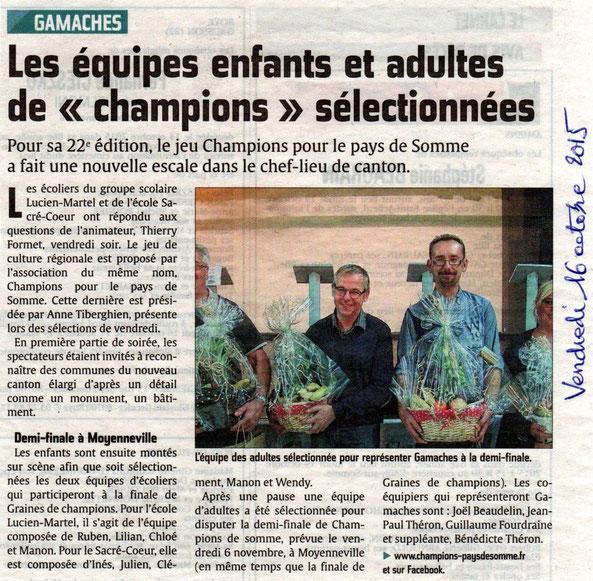 Soirée de Gamaches - Article du Courrier Picard - Octobre 2015