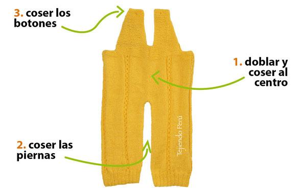 Pantalón con tirantes tejido en dos agujas o palitos para bebes