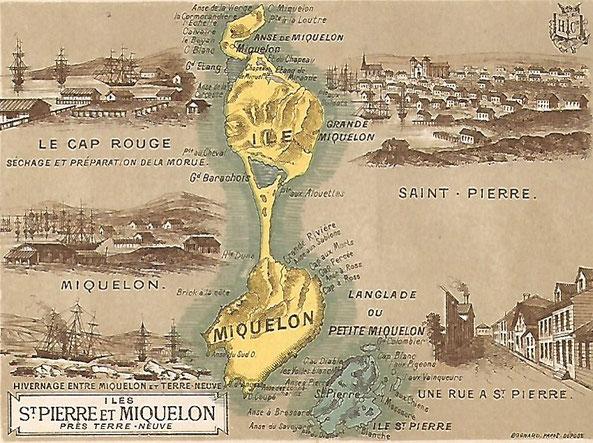Chromo de Saint-Pierre- et- Miquelon. 1ere moitié 20eme siècle. Collection personnelle.