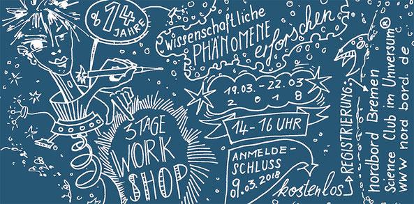 Kritzeln, Jugendliche, Raumfahrt, Zeichenworkshop